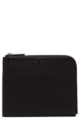 Dagne Dover Large Elle Leather Clutch Black Bone Onyx