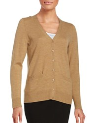 Lord And Taylor Petite Merino Wool Button Front Cardigan Classic Camel Heather