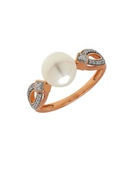Lord And Taylor 8Mm White Freshwater Pearl Diamond 14K Rose Gold Ring