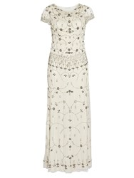 Gina Bacconi Vintage Beaded Maxi Dress Cream