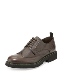 Bruno Magli Salone Pebbled Leather Lace Up Wingtip Dark Brown