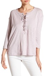 Harlowe And Graham 3 4 Length Sleeve Lace Up Shirt Pink