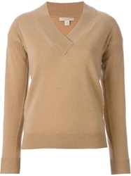Burberry Brit V Neck Sweater Nude And Neutrals