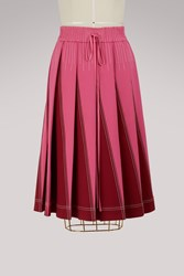 Valentino Pleated Long Skirt Pink Red