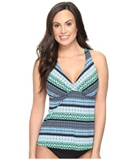 Jantzen Geo Graphic Stripe D Dd Cup H Back Tankini Top Cool Women's Swimwear Blue