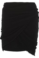 Isabel Marant Gray Ruched Cotton Gauze Mini Skirt Black