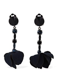Marni Flowers And Crystal Clip On Earrings Navy
