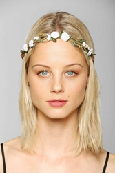 Urban Outfitters Suede Floral Crown Tie Back Headwrap White