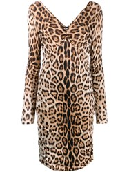 Roberto Cavalli Leopard Print Dress Brown
