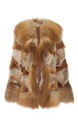 Anna Sui Oversized Lapel Fox Fur Coat Neutral