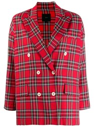 Jejia Tartan Checked Blazer Red