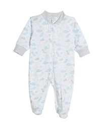 Kissy Kissy Roarsome Printed Pima Zip Front Footie Playsuit Size Newborn 9 Months Blue
