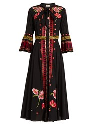 Temperley London Amity Floral Embroidered Cotton Dress Black Multi