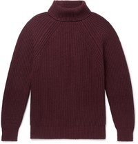Anderson And Sheppard Camoshita Ribbed Merino Wool Rollneck Sweater Burgundy