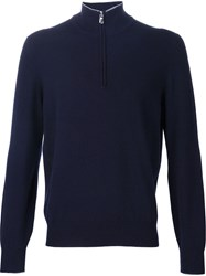 Brunello Cucinelli Half Zip Sweater Blue