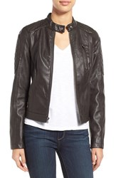 Women's Levi's Quilt Detail Faux Leather Racer Jacket Dark Brown