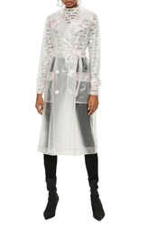 Topshop Frosted Vinyl Mac Trench Coat White