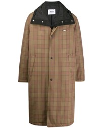 Msgm Checked Trench Coat Brown