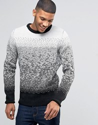 Bellfield Ombre Jacquard Knitted Jumper Bone White
