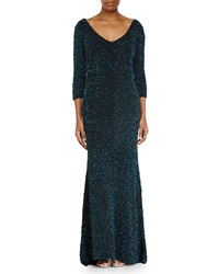 Theia Sequined V Neck 3 4 Sleeve Gown Peacock