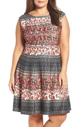 Gabby Skye Plus Size Women's Mix Print Scuba Fit And Flare Dress