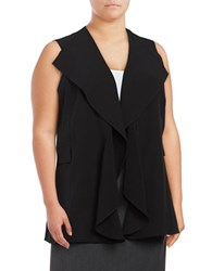 Calvin Klein Plus Ruffled Open Front Vest Black