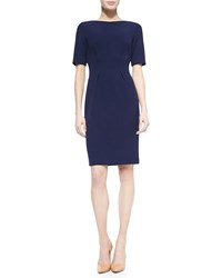 Lela Rose Boat Neck Dress With Nipped Waist Navy