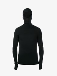 Y 3 Sport Merino Wool Blend Hooded Top Black White
