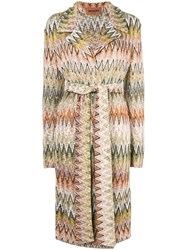 Missoni Belted Pattern Coat Multicolour