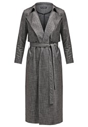 Miss Selfridge Xhatch Trenchcoat Black