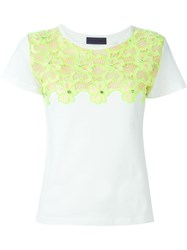 Emanuel Ungaro Yellow Flower Motif T Shirt White