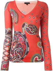 Etro Paisley Print V Neck Jumper Yellow And Orange
