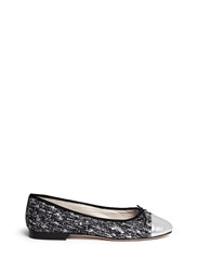 Sam Edelman 'Sara' Metallic Toe Cap Boucle Tweed Flats Black