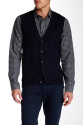Perry Ellis Front Button Knit Vest Blue