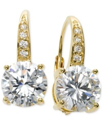 B. Brilliant Cubic Zirconia Leverback Earrings In 18K Gold Over Sterling Silver