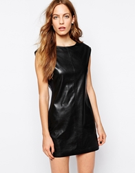 Bcbgmaxazria Karlee Shift Dress In Faux Leather Black