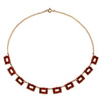 Alice Joseph Vintage 1920S Gold Toned Carved Glass Crystal Necklace Gold Red