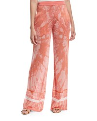 Talitha Collection Tie Dye Textured Semisheer Wide Leg Pants Coral