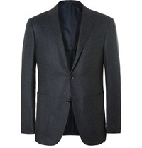 Ermenegildo Zegna Blue Milano Slim Fit Melange Wool And Silk Blend Blazer Navy