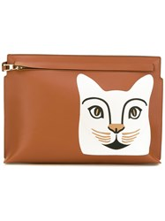 Loewe Cat Clutch Bag Women Cotton Linen Flax Calf Leather One Size Brown