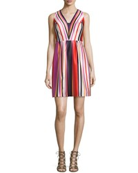 Phoebe Couture Printed Striped V Neck Satin Dress Red Multi