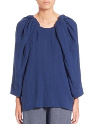 A Detacher Cotton Gauze Top Navy