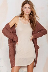 Nasty Gal Stella Crochet Tank Dress Beige