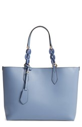 Burberry Medium Reversible Haymarket Check And Leather Tote Blue Slate Blue