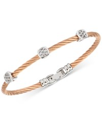Charriol White Topaz Cable Bangle Bracelet 9 10 Ct. T.W. In Stainless Steel And Rose Gold Tone Pvd Stainless Steel