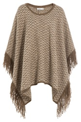 Closed Knit Cape With Alpaca Brown