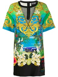 Versace Jeans Couture Mesh Yoke Tropical Print T Shirt Dress 60