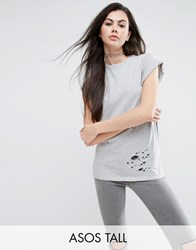 Asos Tall T Shirt In Boyfriend Fit With Distressed Detail Grey