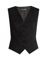 Dolce And Gabbana Polka Dot Print Wool Blend Waistcoat Black Multi