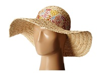 Betsey Johnson Sequin Floppy Hat With Floral Band Natural Caps Beige